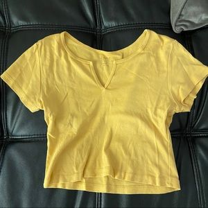 Brandy Melville yellow cropped shirt
